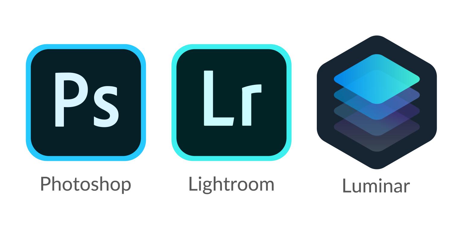 Adobe Photoshop、Adobe Lightroom、Luminar